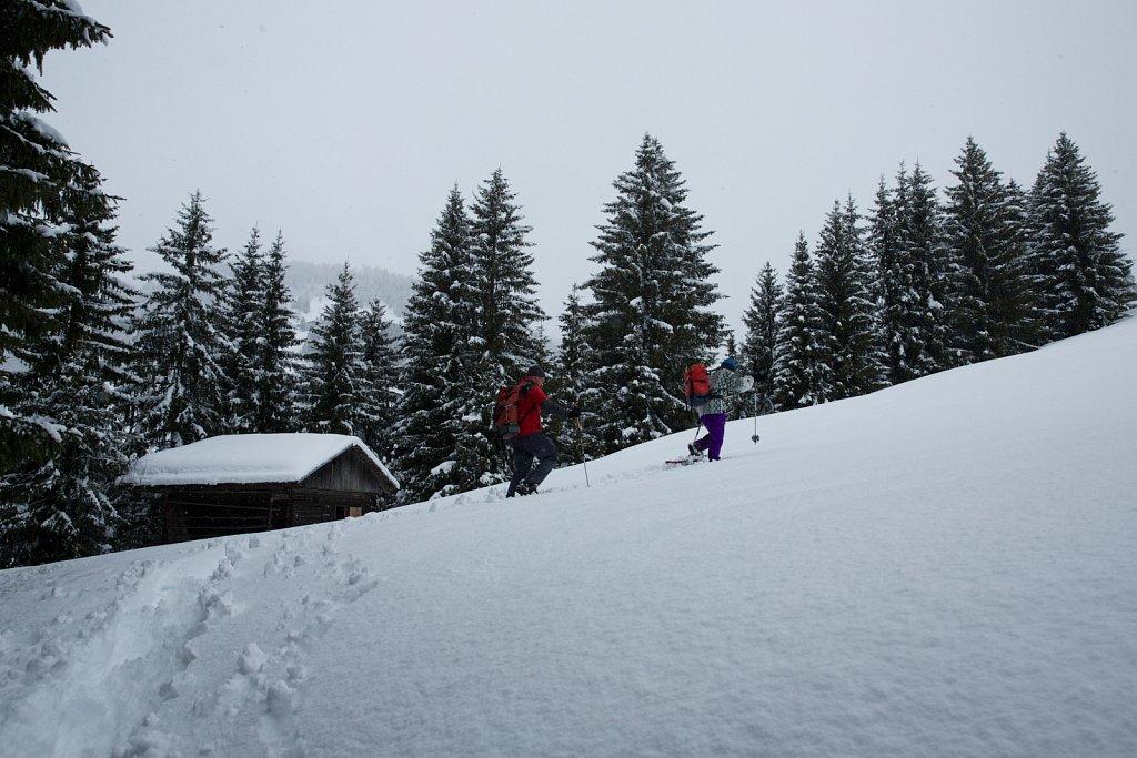 Schneeschuhwanderer beim Aufstieg
